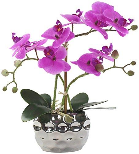 Decoline Künstliche Orchidee 33cm - Blüten lila - Keramik Übertopf Silber