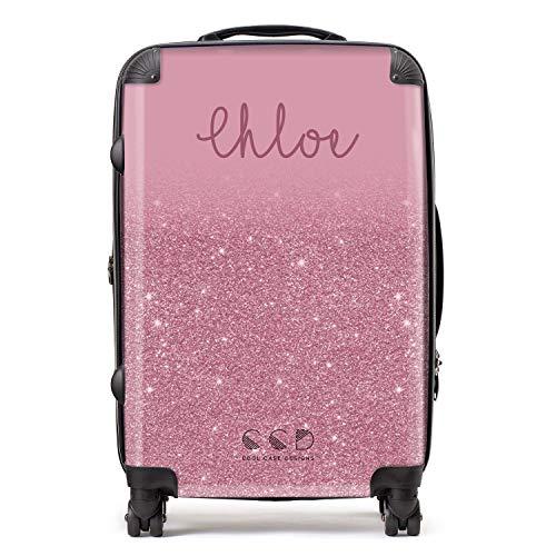 Personalised Pink Custom Glitter Effect Custom Suitcase with TSA Lock 4 Spinner Wheels Medium Luggage 68cm 80Ltr