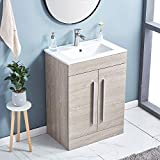 Image of GLANZHAUS EU02HMW-C Modern 600mm Bathroom Vanity Unit with Basin, Free Standing Cloakroom Basin Cabinet 2 Swing Doors, Tidy Space Light Grey Wood Grain