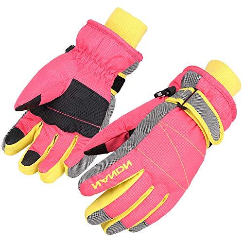 AMYIPO Kinder Winter Schnee Ski Handschuhe Kinder Snowboard Handschuhe für Kinder von 4 bis 10 Jahren, Pink-Neu, 8-10 Years