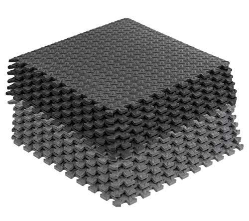 16 Tiles (64 sqft) of Puzzle Exercise Mat EVA Interlocking Foam Tiles Protective, Cushioned Workout Flooring for Exercise, Martial Arts, MMA, Gymnastics and Gym Equipment (Black and Grey, 64 sqft)