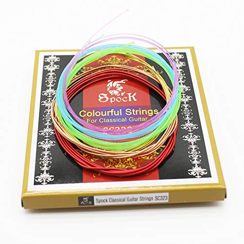Colorful nylon classical guitar strings, nylon strings core, colorful coated copper alloy wound, normal tension. 028-.043