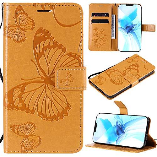 Capa carteira para Galaxy S7 Edge, Galaxy S7 Edge, [Big Butterflie] Capa protetora flip carteira de couro PU para Samsung Galaxy S7 Edge - Amarelo