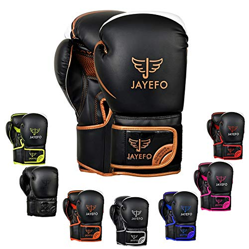 Jayefo Glorious Boxing Gloves Muay Thai Kick Boxing Leather Sparring Heavy Bag Workout Pro Leather Gloves Mitts Work for Men & Women (Black/Copper, 6 OZ)