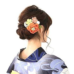 浴衣 髪飾り 成人式 花 結婚式 和装 日本製 リボン ヘアーアクセサリー 二次会 着物 礼装用 留袖 卒業式 入学式 ヘアーアレンジ (オレンジ)