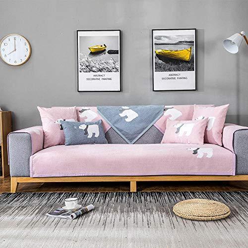 JIAHENGY Pieza Jacquard High Stretch Funda,Funda de sofá de 1/2/3/4 Asiento, Funda de sillón Relajante, sillón de sofá elástico Suave de Felpa-Rosado_110x240cm / (43x95 Pulgadas)