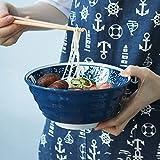 Cuenco de cerámica Creativo para Comedor con Personalidad Cuenco de Sopa de Ramen Cuenco Redondo para Ensalada de Frutas 850 ml Desayuno Familiar Cocina Azul