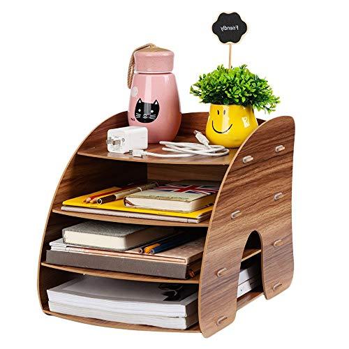 Organizador de escritorio con sistema de bandeja, bandeja de documentos A4, de madera, para escritorio, organización de documentos, para oficina, escuela