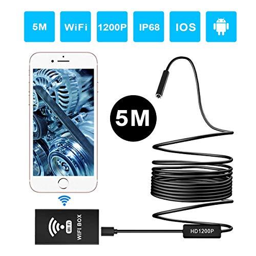 ERAY Endoscopio WIFI 5M, HD 1200P, 2.0MP, Cámara de Inspección 8mm Inalámbrica, IP68 Impermeable con 8 LED Ajustables, Cable Suave y Semi-rígido, Compatible con Android, iOS, Windows y Mac (16.5FT)