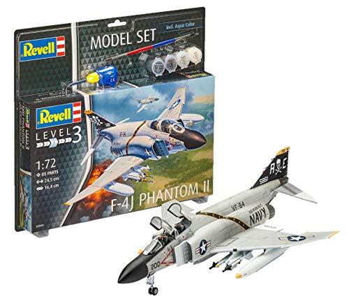 Revell Modellbausatz Flugzeug 1:72 - F-4J Phantom II im Maßstab 1:72, Level 3, originalgetreue Nachbildung mit vielen Details, , Model Set mit Basiszubehör, 63941