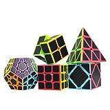 Maomaoyu Cubo Magico Pack, Piramide Cubo+Speed Cube 3x3+2x2+Megaminx+Skewb Puzzle, Cubo de la Velocidad Fibra De Carbono Caja de Regalo de 5 Piezas Set Negro