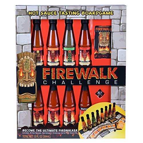 Modernos alimentos gourmet, set de regalo Firewalk Challenge, 48 gramos cada uno, incluye 8 diferentes salsas picantes, tablero de juego, cartas de desafío y 8 dados por las caras