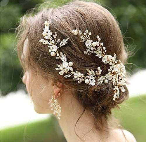 Beryuan,fermaglio per capelli da donna,con perle bianche e fiore di perle bianche,set di orecchini con cristalli dorati,accessorio per capelli,idea regalo per la sposa la damigella d'onore (oro)