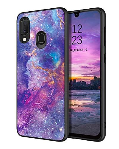 YINLAI Samsung Galaxy A20e Hülle,Handyhülle Samsung A20e Nebula Muster leuchtet im Dunkeln mit TPU Bumper Hybrid PC Schale rutschfeste Fallschutz Kratzfest Schutzhülle für Samsung A20e,Nebel Lila