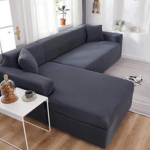 Jonist L-Form Couchbezug Einfarbige Ecksofabezug für Wohnzimmer Elastische Spandex-Schonbezüge Stretch-Sofa Handtuch-Dunkelgrau_3-Sitz und 4-Sitz