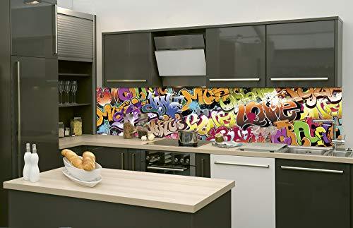 DIMEX LINE Küchenrückwand Folie selbstklebend Graffiti | Klebefolie - Dekofolie - Spritzschutz für Küche | Premium QUALITÄT - Made in EU | 260 cm x 60 cm