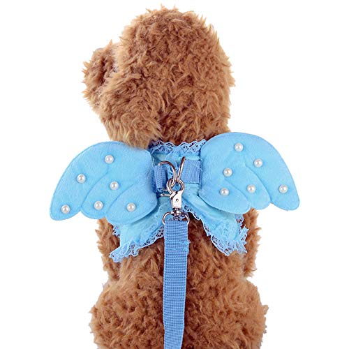 Yowablo Niedliche Angel Pet Dog Brustgurt Halsbänder Set für Small Pet Designer Wing (35cm,Blau)