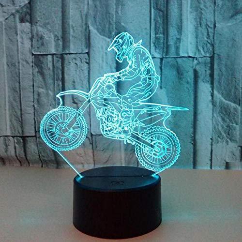 Jongen rijdt motorfiets 3D nachtlampje LED illusie lamp met 7 kleuren wijzigen en afstandsbediening - verjaardagen en kerstcadeaus voor kinderen nachtkastje lamp slaapkamer decoratie