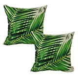 Luxbon 2 Stück Dschungel Sago Cycas Blatt dauerhaft Leinen Kissenbezug mit Reißverschluss Sofa Büro Dekokissen 45x45 cm Grün
