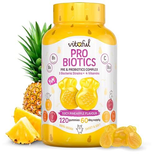 VITAFUL Probiotics - Supporta la digestione sana e la salute dell'intestino - 3 ceppi batterici + prebiotico + vitamina B3, B5, B6, C - 120 vitamine gommose sufficienti per 2 mesi - 100% vegano