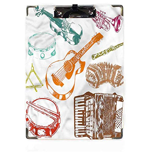 Music Decor Letter Size Clipboard Low Profile Clip Hardboard Concert Instruments Musical ECO Friendly Hardboard Clipboard Pack,Low Profile Clip Standard A4 Letter Size,Classroom Supplies