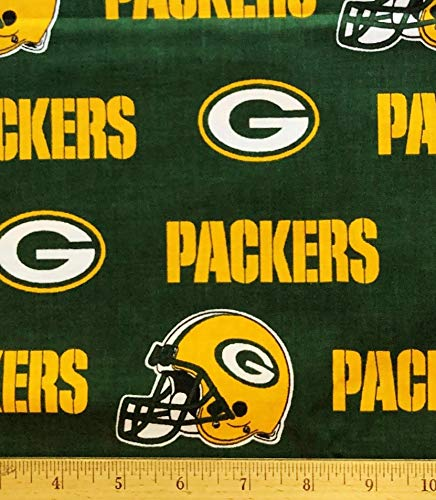 """1/2 Yard - Green Bay Packers Football Broadcloth Green Cotton Fabric (Great for Quilting, Sewing, Craft Projects, Quilt, Throw Pillows & More) 1/2 Yard X 58"""""""