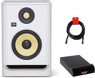 "KRK RP5 Rokit 5 G4 Pro Bi-Amp 5"" Powered Studio Monitor (White Noise) Bundle with Isolation Pad & XLR Cable"