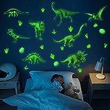 Leuchtende Dinosaurier Kids Wandtattoo,Dinosaurier Wandtattoo Kinderzimmer,Wandsticker,Wandaufkleber Kinderzimmer,Leuchtsticker, Leuchtend Wandaufkleber für Junge Schlafzimmer Geschenke