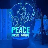 3Dイリュージョンランプは、世界の中でナイトライトリックアンドモーティピースを導きましたフィギュア子供のためのクールなクリスマスギフトベビーベッドリック&モーティ