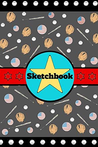 """Sketchbook: Baseball Gloves Bat Sport Art Gift - SKETCHBOOK, 130 pages, 6"""" x 9"""""""