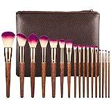 BO LAI DE Make-Up Pinsel Set aus 17 Hochwertigen Make-Up Pinseln, Geeignet für Fondazione, Rouge, Lidschatten, Nylonhaar, mit Pinseltasche, Naturholzfarbe