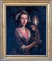 ファインラージ 19世紀 イングリッシュキャンドルポートレートレディゴッドフリートヴァンシャルケン