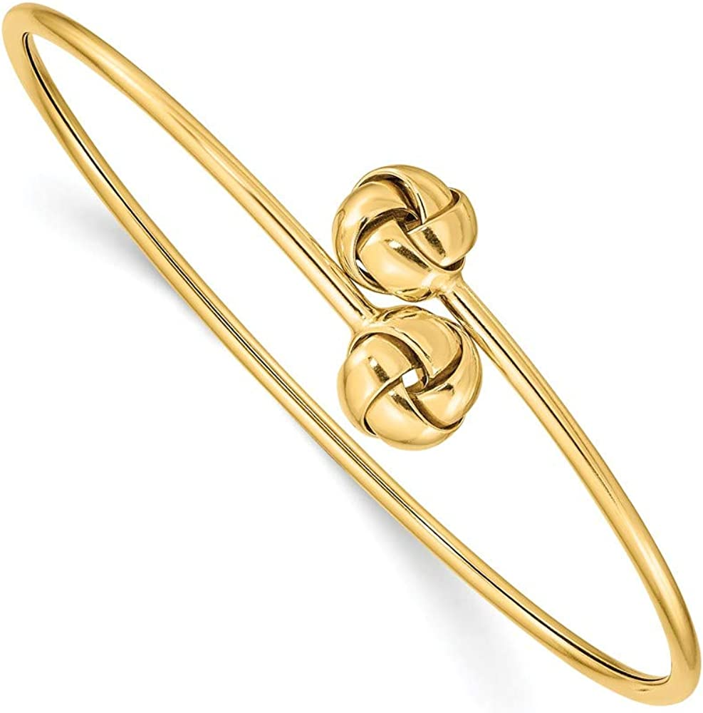 14k Yellow Gold Love Knot Flexible Bangle Bracelet Cuff Expandable Stackable Fine Jewelry For Women Gifts For Her