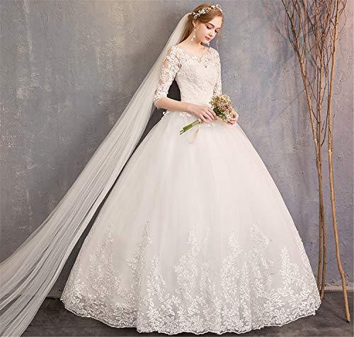 BIANJESUS kant Appliques Lange bruiloftsjurk met hulzen snoeren Wees top bruidsjurk wit trouwjurk