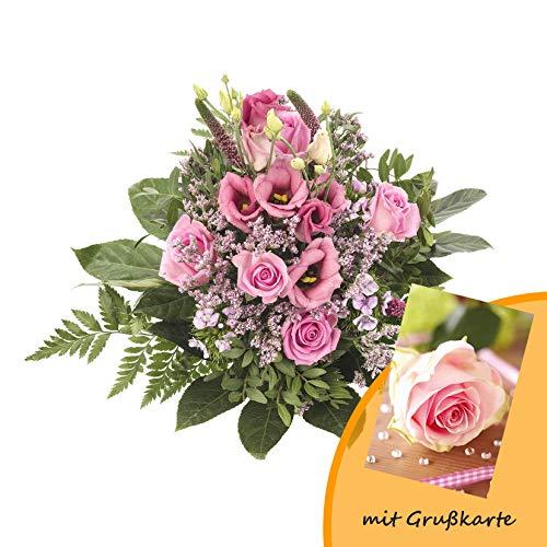 """Dominik Blumen und Pflanzen, Blumenstrauß, Blütenzauber, mehrfarbig, 40 x 25 x 25 cm und Grußkarte """"Rosen"""""""