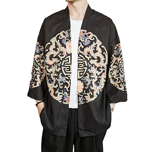 Haobing Hombre Kimonos Vintage Estampado Cárdigans Manga Larga Chaqueta de Verano Otoño Hippie Cloak Estilo Japonés (Negro #11, CN L)