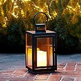 Lights4fun Farolillo en Metal Cincado Negro para Interiores y Exteriores con Vela LED...