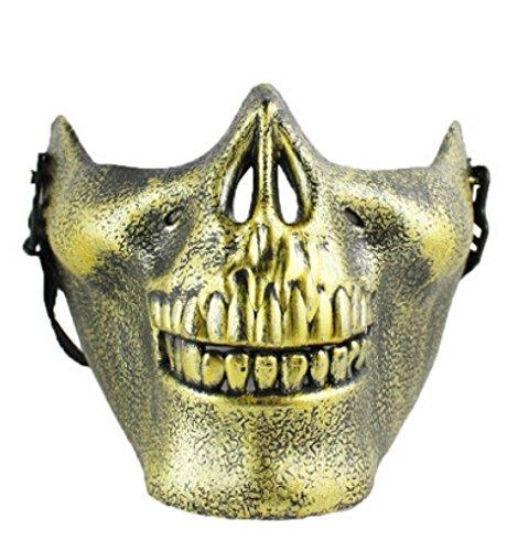 DAYAN Hommes Demi-Masque en forme de crâne Halloween CS extérieure Airsoft Argent