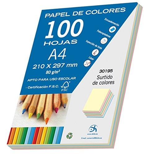 Dohe- Pack de 100 papeles A4, 80 g, multicolor pastel, Color