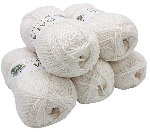 Mix Fiber 5 x 100g Strickwolle Gala weiß, 500 Gramm Acryl -Wolle zum Stricken und Häkeln