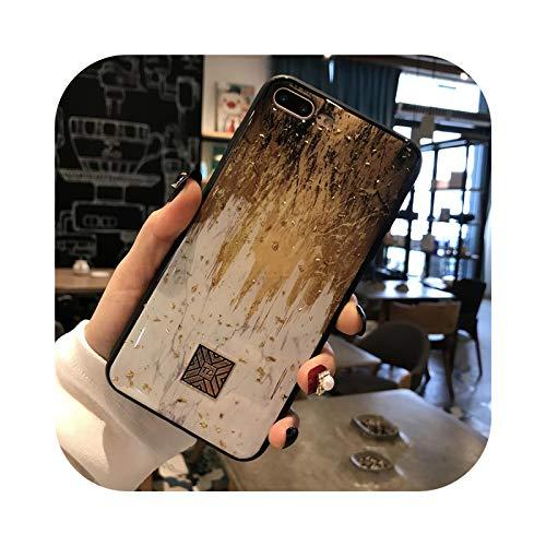Carcasa de silicona dorada para iPhone 11 Pro Xs Max X XR 6 6S 7 8 Plus SE purpurina Girly Flower Dream textura cepillada D19-para iPhone X Xs
