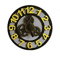 クロック 壁掛け時計,ビンテージギアウォールクロック 産業風 壁掛け装飾、 クリエイティブ ミュート に適し バー リビングルーム,Gold,B