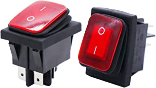 Twidec/2Pcs Waterproof 16A 250V 20A 125V 4 Pins 2 Position ON/Off DPST DC 12V Red LED Light Illuminated Rocker Toggle Switch Boat Or Car KCD2-201N-2-W-R