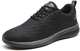 XUJW-Shoes, Mens Athletic Shoes for Men Sports Shoes Lace Up Style Mesh Material Outsole Casual Hollow Breathable Color Matching Durable Comfortable (Color : Black, Size : 7 UK)
