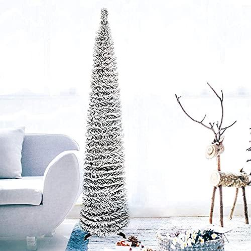 LIUTIAN Pieghevole Albero di Natale Bianco Pop-up Piccolo Albero di Natale, Adatto for la casa deposito Decorazioni Natalizie Albero di Natale 150 cm / 5 Piedi