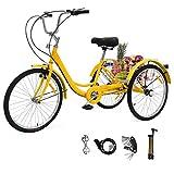 Sehrgo ZEHNHASE Triciclo para Adultos con cestas, 24 Pulgadas Bicicleta de Triciclo con Marco de aleación(DE Valores) - Amarillo