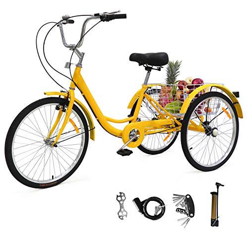 Sehrgo ZEHNHASE Triciclo para Adultos con cestas, 24 Pulgadas Bicicleta de Triciclo...