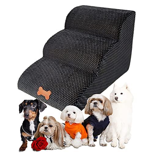 Bounabay Escalier 3 marches pour chiens et chats avec housse en peluche, portable, amovible, lavable, pour animaux de compagnie (A)
