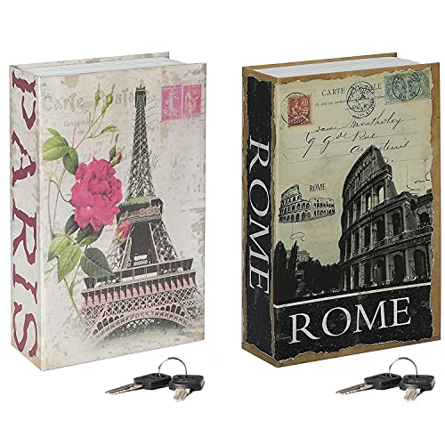 Jssmst Diversion Book Safe with Key Lock, Secrect Hidden Safe Lock Box for Home Office Locking Money Box High Capacity, 9.5 x 6.2 x 2.2 inch, SMBS019 Eiffel Tower bundle with ROME