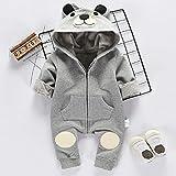 Bär Strampler grau weiß für Baby ab 3 bis 6 oder 6 bis 9 monat, Größe 70,80 Mode Neugeborene